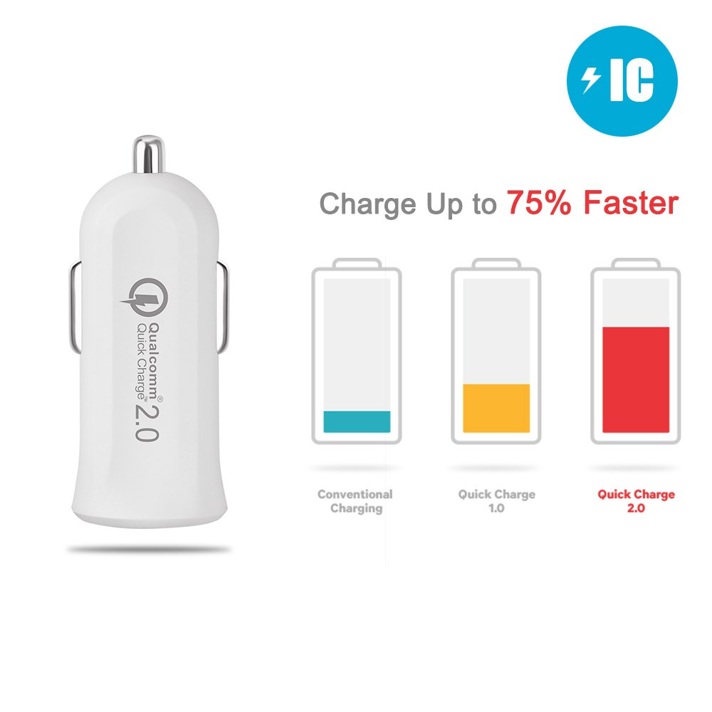 Amazon.com: Quick Charge 2.0 USB Car Charger, [Qualcomm Certified] JOTO Mini Turbo Rapid USB Car Charger (QC 2.0 Mini USB Car Charger) for iPhone, ...