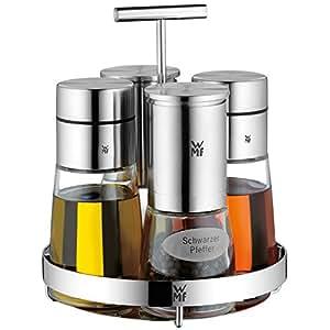 WMF Menage Juego de 5piezas Dosificador Sal y Pimienta (Soporte de Luxe Cromargan Acero Inoxidable Cristal Lavavajillas.
