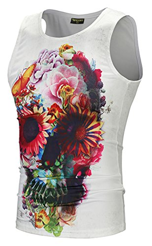 Pizoff Mens Sleveless Flowers Skull Print Work Out Muscle Tank Top - Tank Flower