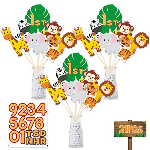 Jungle Themed Cutouts (Jungle Safari Birthday Party Centerpiece Sticks, DIY Jungle Animals Table Decorations Jungle Cutouts for Baby Shower, Birthday Photo Props Decorations Set of)