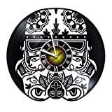 kidsroom design ideas  Helmet - Skull Design Handmade - Vinyl Record Wall Clock - Exciting kidsroom Decor idea for Children, Adults, Men and Women - OWL Unique Art Design!