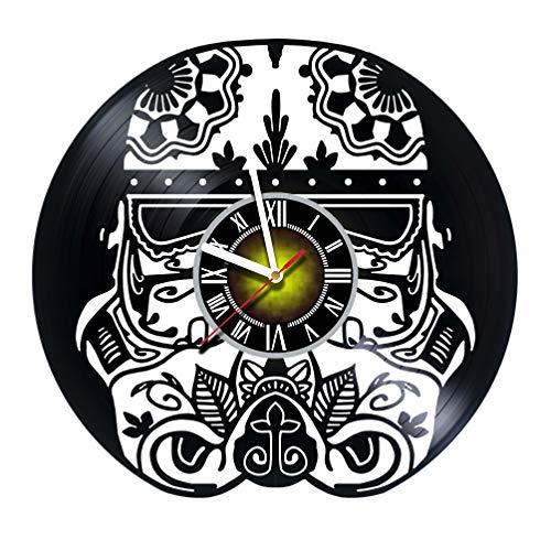 Helmet - Skull Design Handmade - Vinyl Record Wall Clock - Exciting kidsroom Decor idea for Children, Adults, Men and Women - OWL Unique Art Design!