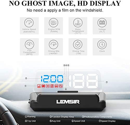 Head-Up Display, LEMSIR Car HUD Speedometer OBD II EUOBD Interface with Foldable Display Board, Digital HD LED Projector Display Speed MPH Driving Reminder Alarm Light Sensor