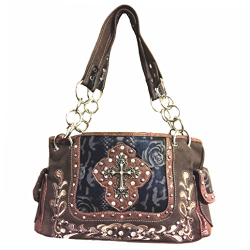 Brown Leather Embroidery Brown Women's and A26 Pink Style Handbag 5266 Flowers 5266 Cross Black Rhinestone Purse Red Stylish in A26 xnHXOO