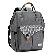 #LightningDeal 76% claimed: Lekebaby Multi-function Baby Diaper Bag Backpack Waterproof for Mom and Dad in Grey with Changing Pad & Insulated Pockets & Stroller Straps