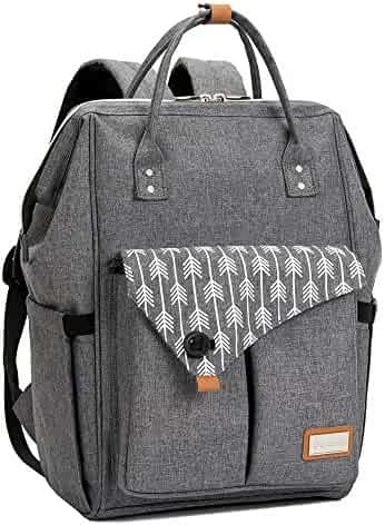 Lekebaby Large Diaper Bag Backpack for Mom in Grey with Arrow Print