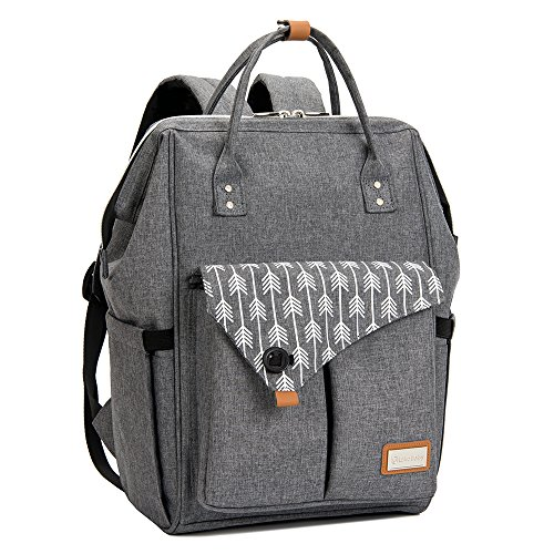Lekebaby Large Diaper Bag Backpack for Mom in Grey with Arrow (Large Baby Diaper Bag)