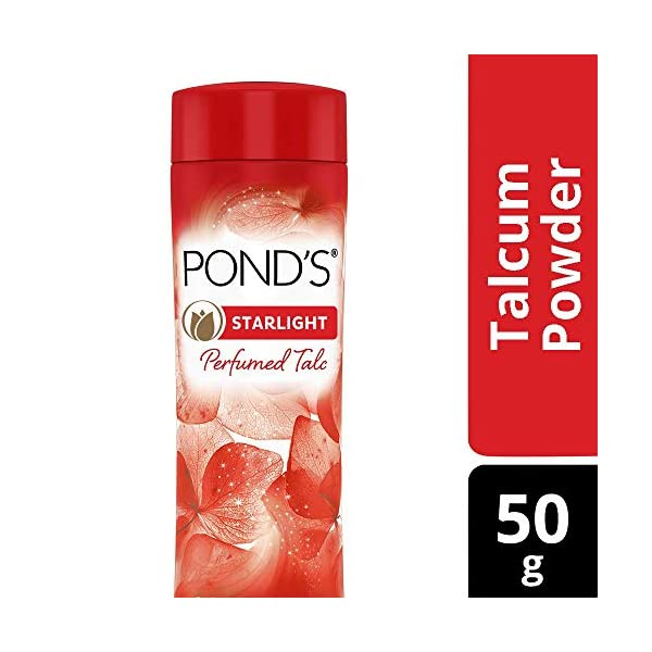 Ponds Starlight Talc 50g 2021 July Mesmerising fine fragrance inspired by international perfumes Its soft and smooth micro talc that helps absorb sweat & prevents body odour Removes excess oil secretion on the face leading to an even tone skin