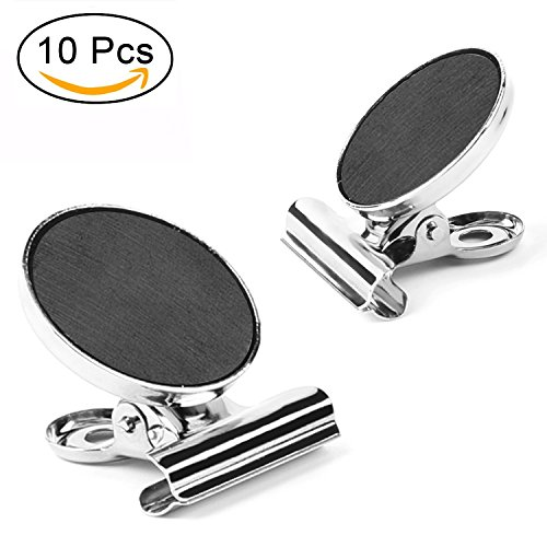 Magnetic Clips, AIEX 10 Strong Refrigerator Magnetic Hook Clips with Neodymium Magnet, Perfect Fridge Magnets Office Magnets Photo Magnets for House Office (30mm (Map Hook Clip)