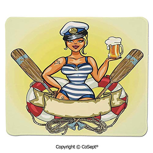 Premium-Textured Mouse pad,Pin Up Sexy Sailor Girl Lifebuoy with Captain Hat and Costume Glass of Beer Feminine,Non-Slip Water-Resistant Rubber Base Cloth Computer Mouse Mat (15.74