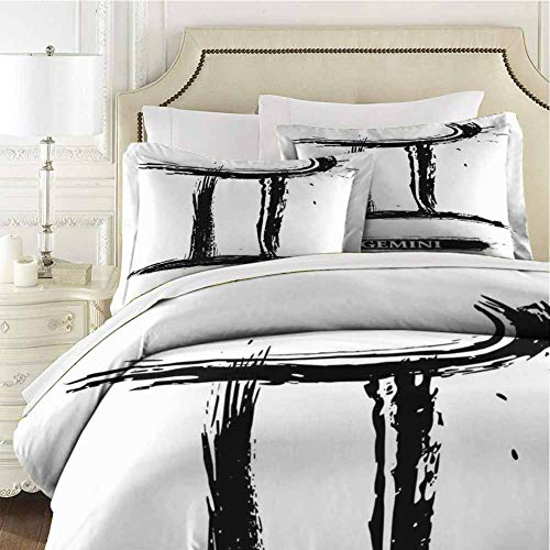 Zodiac Gemini Bedding 3-Piece Queen Bed Sheets Set,Bedding Set Full All Season Quilt Set Grunge and Artistic Brushstroke Design Ultra Soft and Breathable Comforter Cover