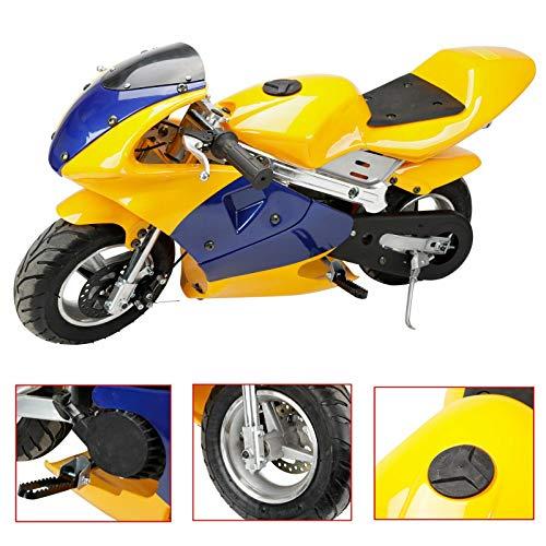 BLACKHORSE-RACING Mini Gas Pocket Dirt Bike Dirt Off Road Motorcycle Ride-on 49CC 2-Stroke Engine 1.8L Teens/Kids Yellow