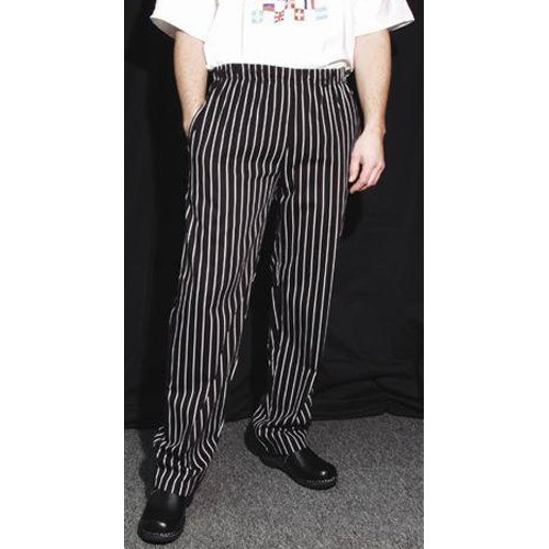 Chef Revival P040WS Cotton E-Z Fit Pant with 2 Side and 2 Rear Pockets, 4X-Large, White/Black Pinstripe by Chef Revival