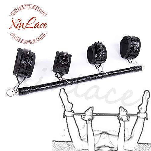 High Quality PU Leather Diamond Pattern Steel Pipe Hand Foot Cuffs(Black)