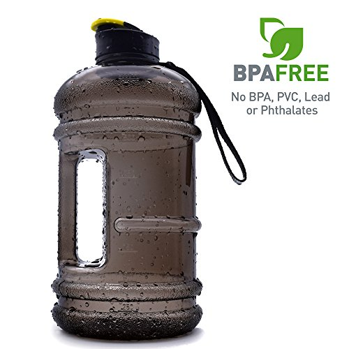2.2l Large Sports Water Bottle Tank Jug Container Hydrate Drinking Bottle by Shineshin Resin Fitness BPA Free Leakproof with Easy Carry Handle for Bodybuilding Outdoor Gym Workout Hiking & Office…
