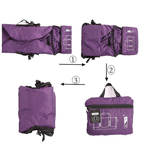toodou 40L faltbar Sporttasche Barrel mit Schultergurt, Sport Duffel Tasche für Damen und Herren, wasserabweisend Nylon (lila)