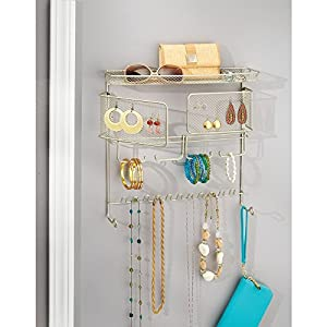InterDesign Classico Hanging Fashion Jewelry Organizer for Rings, Earrings, Bracelets, Necklaces - Wall Mount, Satin