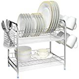 SortWise ® S-shaped 2-Tier Multi-function Stainless Steel Dish Drying Rack with Drainboard, Removeable