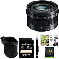 Panasonic H-X015K G LEICA 15mm f/1.7 ASPH Lens with Lens Pouch and 16GB SDHC Accessory Bundle