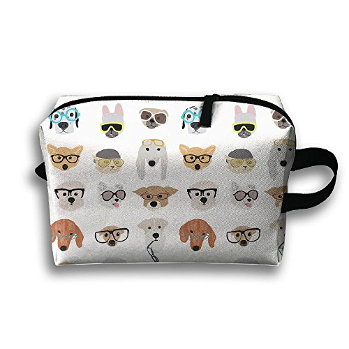Ztrb Funny Dogs With Sunglasses Portable Make-Up Zipper Pouch Beauty Cosmetic Bag Carry Case Brush Organizer Toiletry Hanging Storage Bag Sewing Kit Medicine - Online Sunglasses Shopping