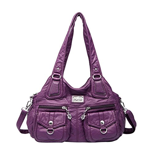 Angelkiss 3 Top Zippers Multi Pockets Handbags Washed Leather Purses Shoulder Bags Backpack 1593/2 (purple) by Angel Kiss
