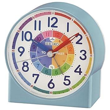 Seiko QHE153L - Reloj Despertador para niños (Hora y formación), Color Azul: Amazon.es: Electrónica