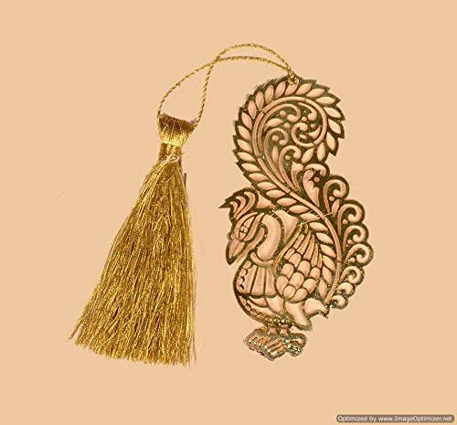 Skywalk India Souvenir Metal Bookmark-Peacock with Tassel, Collectible Art, Perfect for Home Decoration