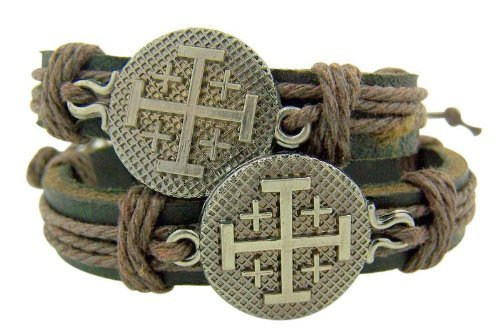 (Set of 2 Jerusalem Crusaders Cross Medal 8 Inch Adjustable Leather)