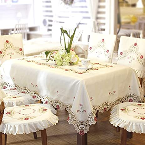 Damask Rose Camellia Embroidered Cream Floral Tablecloth Rectangular 60 X  86 Inch Approx