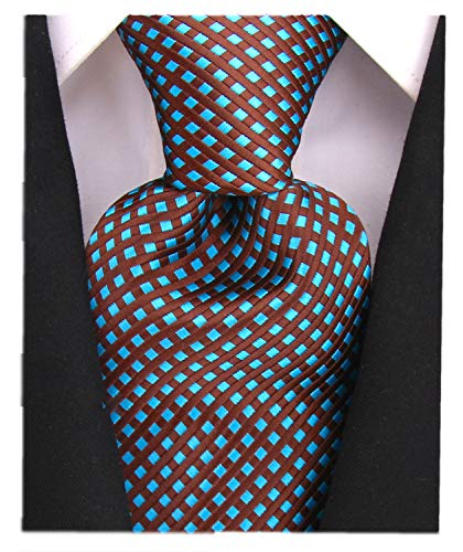 Diamond Striped Ties for Men - Woven Necktie - Black w/Teal