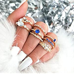 Protuster Vintage Rhinestone Knuckle Rings Gypsy Stackable Joint Midi Finger Rings Set Gold Blue Crystal Hand…