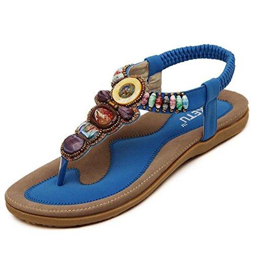 mujer Chanclas Sandalias grande bohemias verano Hattie con de para Sandles cuentas moldeadas Azul Tamaño qqHr1E0