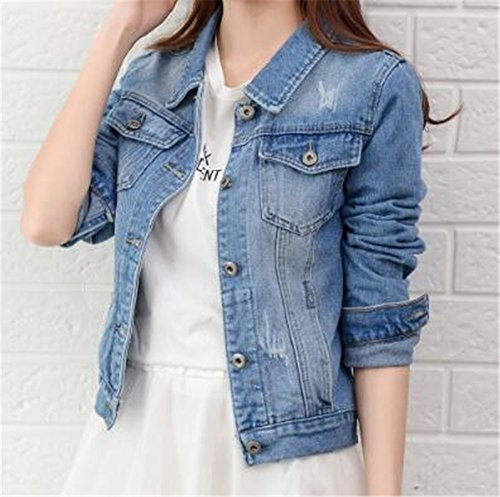 Hooded Femme Coat AILIENT Court Tops Manteau Outerwear Light Blue Blousons Bouton Automne Dcontracte Casual Veste Denim nqRfCR