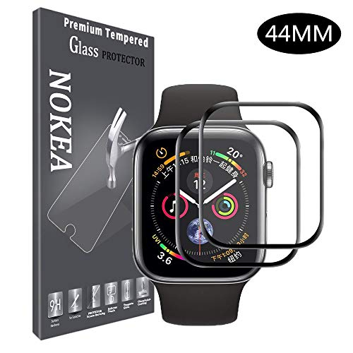 - NOKEA Watch Screen Protector Compatible Apple Watch Series 4 44mm, 3D Full Coverage HD Anti-Bubble Anti-Scratch Tempered Glass Screen Protector for Apple iWatch Series 4 44mm (2 Pack)