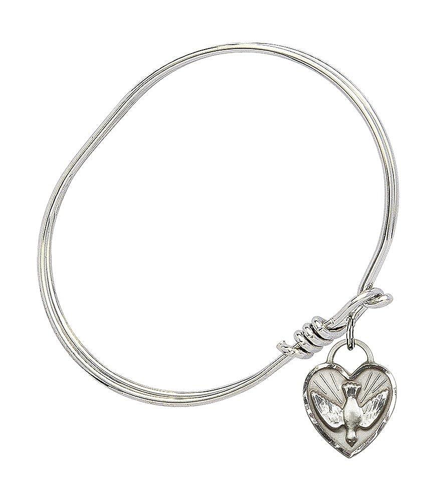 Confirmation Heart Charm On A Child Sized 5 3//4 Inch Oval Eye Hook Bangle Bracelet