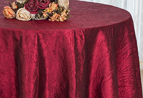 Wedding Linens Inc. 120 inch Round Crinkle Crushed Taffeta Tablecloths, Round Table Cover Linens for Round Banquet Tables - Burgundy