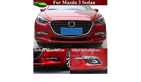 Amazon.com: Fit For Mazda 3 Sedan 2015 2016 2017 2018 2019 Car Chrome Front Fog Light eyebrow Lamp Frame Cover Trim Emblems Decals: Automotive