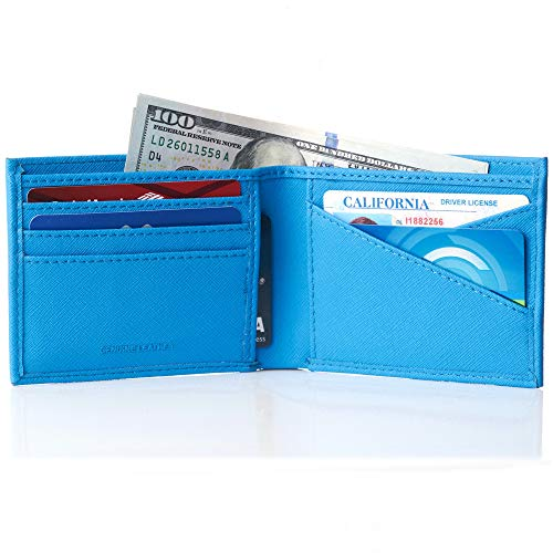 (Alpine Swiss Double Diamond Mens RFID Bifold Wallet with Divided Bill Section Crosshatch Aqua)