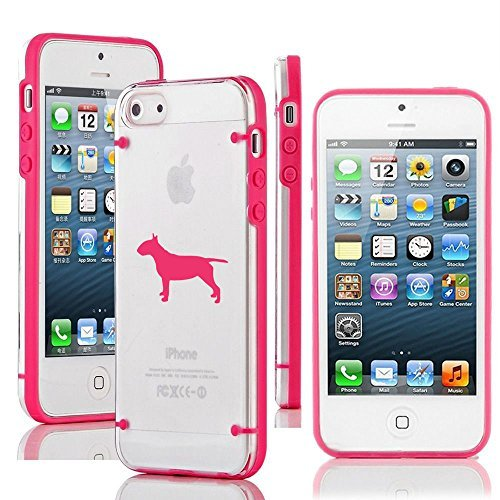 Apple iPhone 6 Plus / 6s Plus Transparent Clear Hard TPU Case Cover Bull Terrier Dog (Hot Pink)