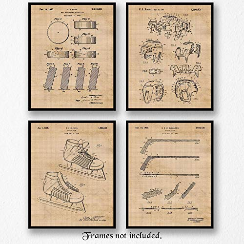 Original Hockey Equipments Patent Art Poster Prints - Set of 4 (Four Photos) 8x10 Unframed - Great Wall Art Decor Gifts Under $20 for Home, Office, Studio, Man Cave, Gym, -