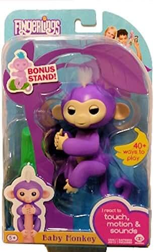 WowWee Fingerlings Mia Purple Baby Monkey with Bonus Stand