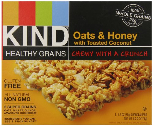 Kind Healthy Grains Granola Bars, Oats and Honey with Toasted Coconut, 1.2 Ounce, 5 Bars