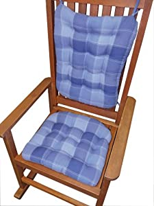 rocking chair cushion set patchwork denim blue w white topstitching fits. Black Bedroom Furniture Sets. Home Design Ideas