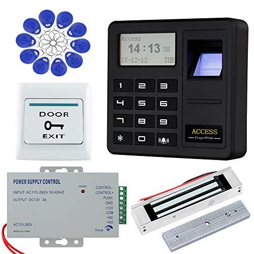 HFeng Sistema de control de acceso de la puerta de la huella dactilar Teclado biométrico RFID + 180KG Bloqueo magnético + 10pcs EM4100 Etiquetas clave para ...