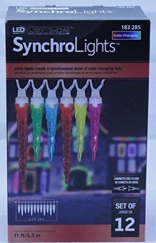 LED Synchro Lights Color Changing Icicles Set of 12 Lights]()