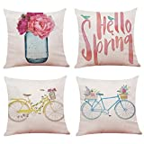 Youngnet Spring Theme Flower Bicycle Throw Pillow Covers 18x18 inch Cotton Linen Cushion Cases Home Decor, Set of 4