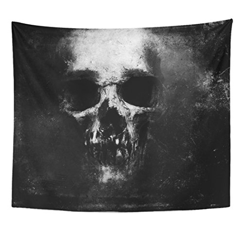 Emvency Tapestry Death Scary Skull Halloween Dark Skeleton Evil Retro Home Decor Wall Hanging for Living Room Bedroom Dorm 50x60 -