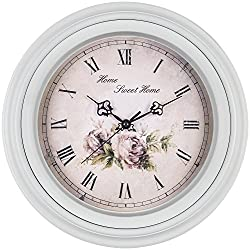 Bernhard Products Floral Pink Wall Clock 14 Inch Traditional Vintage Style Silent Non-Ticking Quartz Decorative Flower Battery Operated Roman Numeral for Kitchen/Dining Room/Bedroom/Home Office