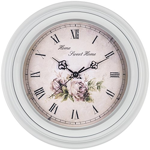 Bernhard Products Large Decorative Wall Clock 14 Inch, Traditional Vintage Style Silent Non-Ticking Quality Quartz Battery Operated Clock, Home Sweet Home Flower Design