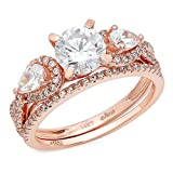 2.2 Ct Round Pear Cut Pave Halo Engagement Wedding Bridal Anniversary Ring Band Set 14K Rose Gold, Size 5, Clara Pucci
